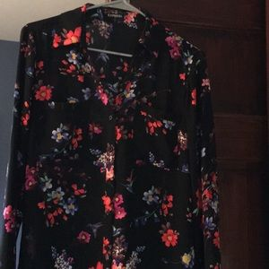 Express Button down Top with flower designs